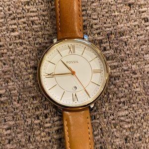 Fossil Jacqueline Tan Leather Strap Women's Watch